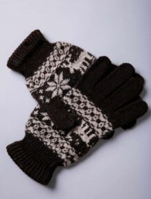 Brown Yak Woolen Adult's Gloves With Pattern