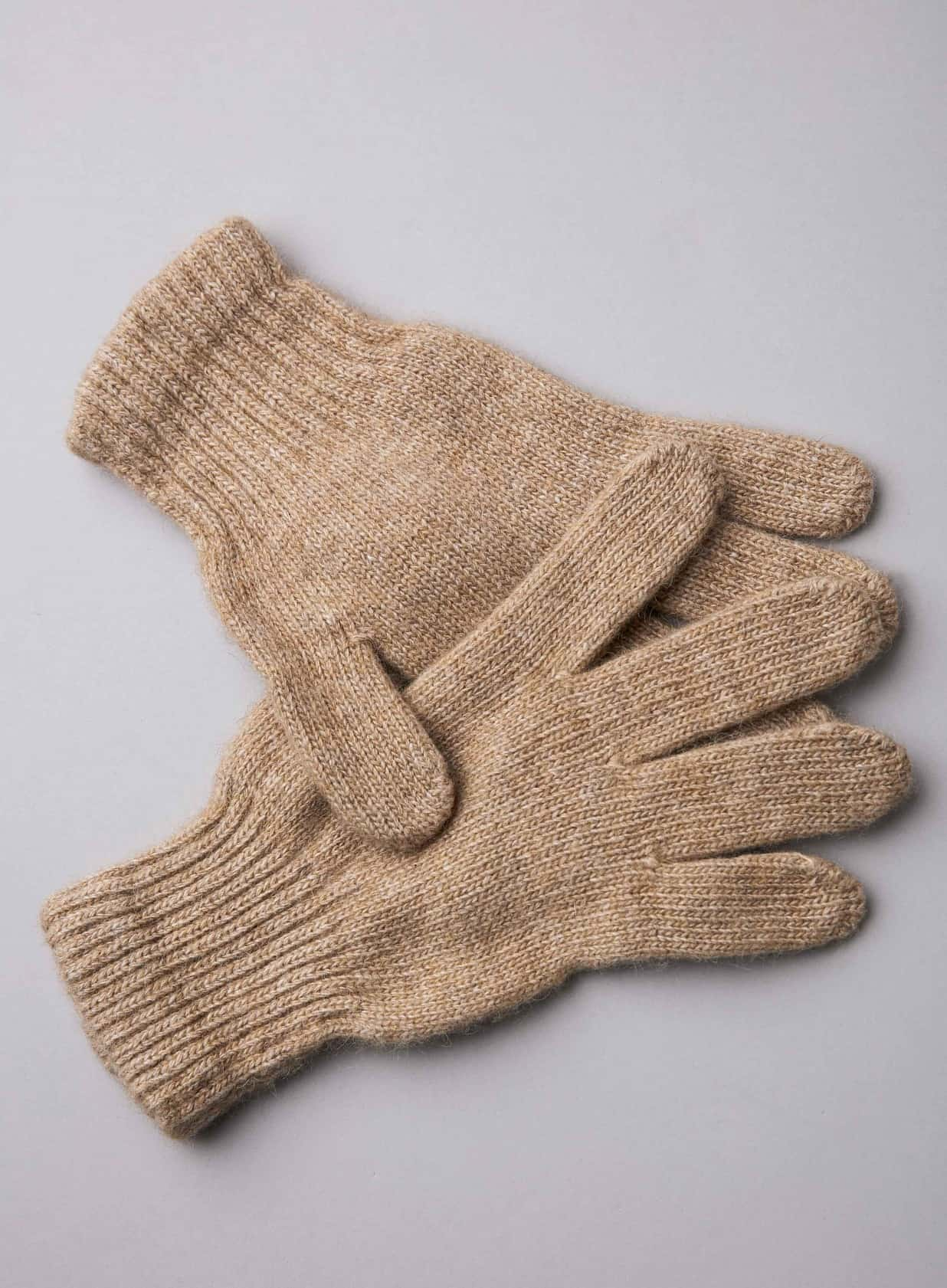 Brown Camel Wool Adult/'s Gloves