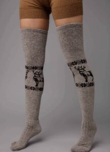 Dark Brown Camel Woolen Stocking With Pattern