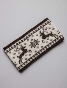 Dark Brown Woolen Bandage With Deer Pattern