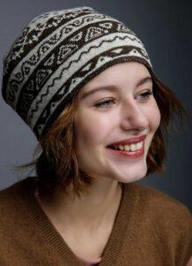 Dark Brown Woolen Women's Hat With Pattern