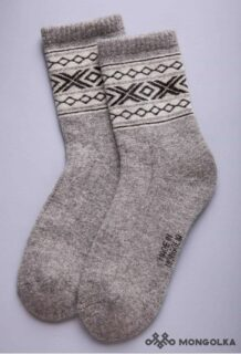 Grey Woolen Sock with White pattern