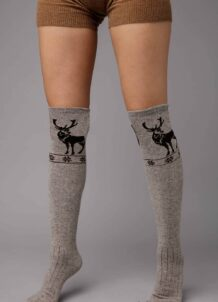 Grey Camel Woolen Scoks With Pattern