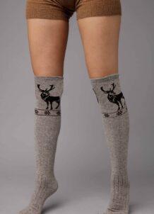 Grey Camel Woolen Scoks With Pattern