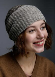 Grey Woolen Women's Hat Deer Pattern