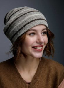 Grey Woolen Women's Hat With Stripes