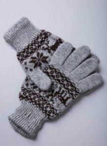 Grey Yak Woolen Adult's Gloves With Pattern