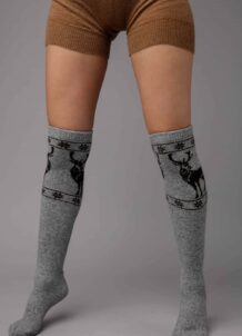 Grey Yak Woolen Socks With Patterm