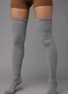 Grey Yak Woolen Stocking Without Pattern