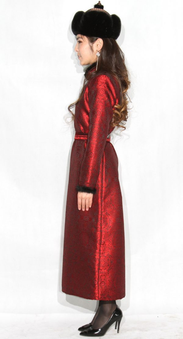 Mongolian Women's Red Deel with Sable Fur