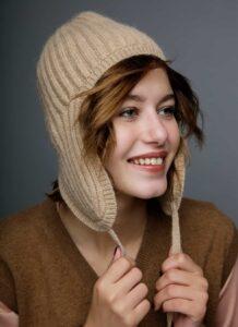 Light Brown Woolen Women's Hat