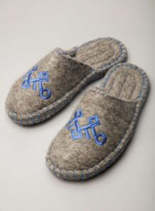 Light Grey Camel Woolen Slippers