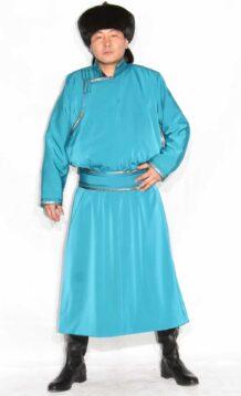 Mongolian Men's Water Blue Deel with Fur Hat