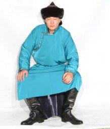 Mongolian Men's Water Blue Deel