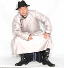 Mongolian Men's White Deel