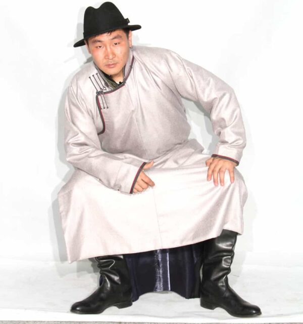 Mongolian Men's White Deel