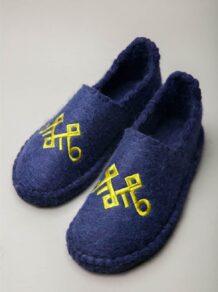 Purple Grey Camel Woolen Slippers