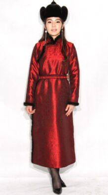 Red Women's Deel with Sable Fur