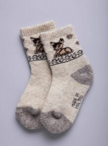 White Camel Woolen Children's Socks With Pattern