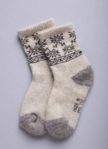 White Woolen Socks with Snowflake pattern