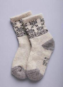 White Woolen Socks with Snowflake pattern