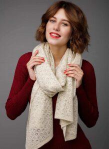 White Woolen Women's Scarf