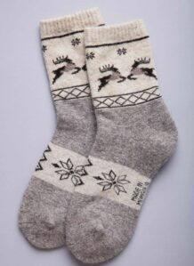 Gray Woolen Socks with Deer Pattern