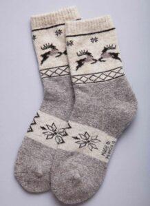 Gray Woolen Socks with Deer Pattern