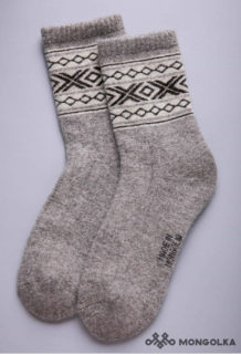 Grey Woolen Sock with White pattern