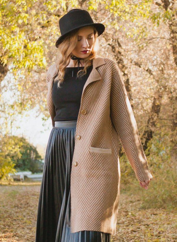 Camel Woolen Women's Coat
