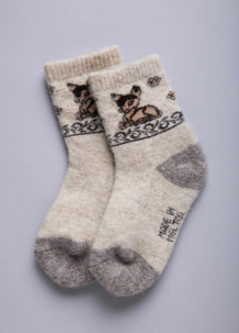 White Woolen Sock with Fawn pattern
