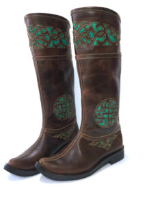 Mongolian Brown Boots with Green Embroidery