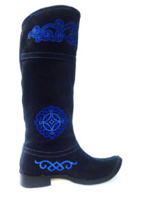 Mongolian Women Black Boots with Blue Embroidery
