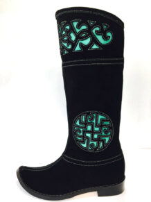 Mongolian Women Black Boots with Green Embroidery