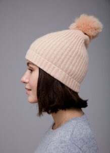 Beige Pom Hat