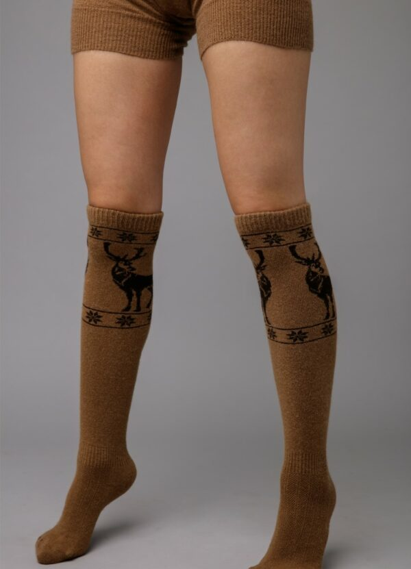 Camel Wool Knee High Socks
