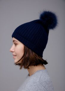 Dark Blue Pom Hat