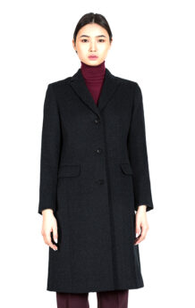 Women's 100% Sheep Wool Black Coat 2 (Front)