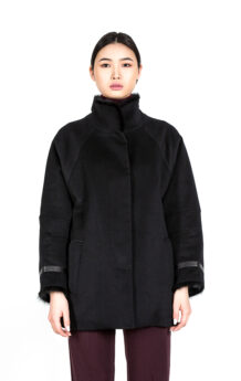 Women's Sheep Wool Black Winter Coat (Front)