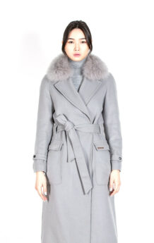 Women's Sheep Wool Gray Winter Coat (Front)