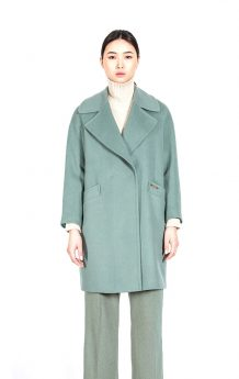 Women's 100% Sheep Wool Green Coat