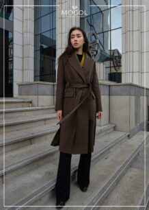 Women's brown belted coat