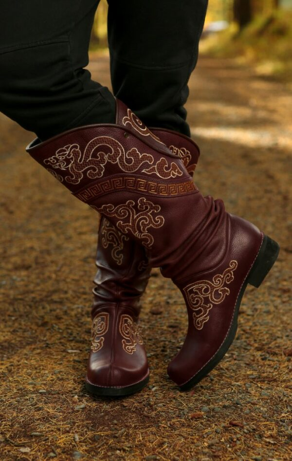 White Embroidered Boots