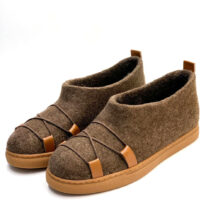 Brown Felt Shoes with Laces