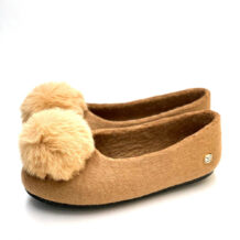 Brown Felt Women Shoes with Pom Poms