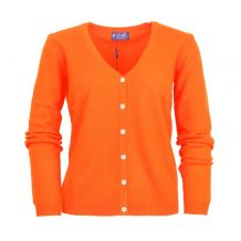 Women orange cashmere cardigan