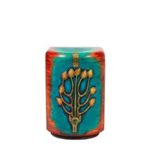 Cylinder chest with golden deer ornament