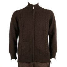 Men dark brown yak wool cardigan