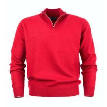 Men's red cashmere neck zipper sweater