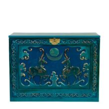 Wooden chest with eternal age pattern